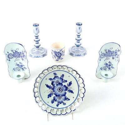 OUD Delft Williamsburg Restoration Candlesticks and Other Delft Tableware