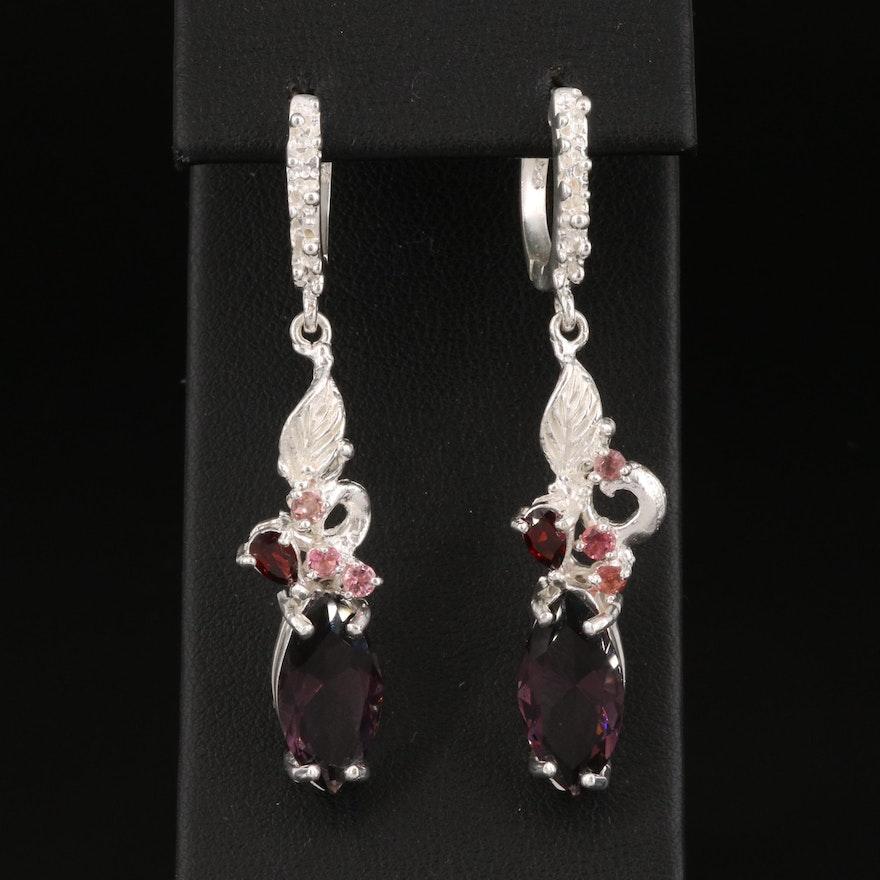 Sterling Silver Amethyst, Garnet and Tourmaline Foliate Earrings