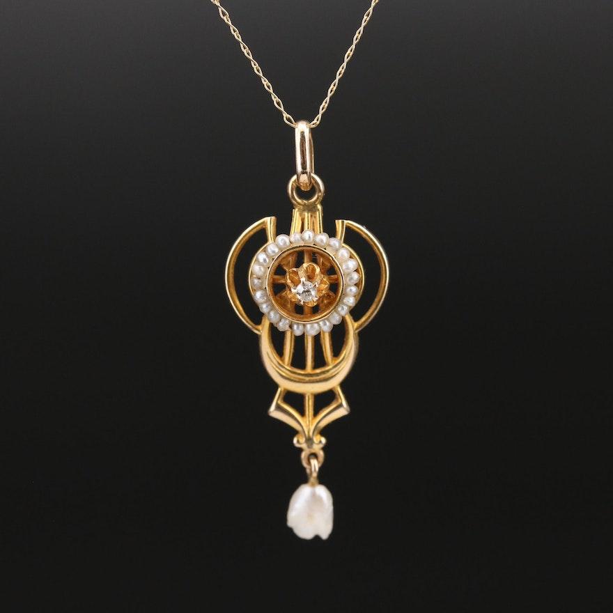 Art Nouveau 10K and 14K Diamond and Pearl Lavalier Necklace