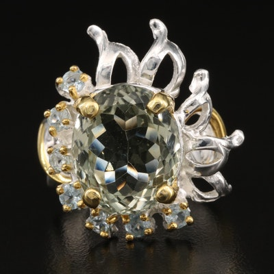 Sterling Silver Quartz and Topaz Ring