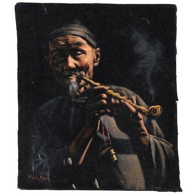 Oil Painting on Velvet of Man with Kiseru Pipe, Mid-20th Century