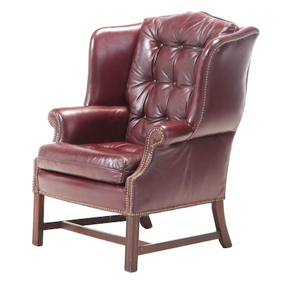 Chippendale Style Button-Down Burgundy Leather Armchair, Late 20th Century
