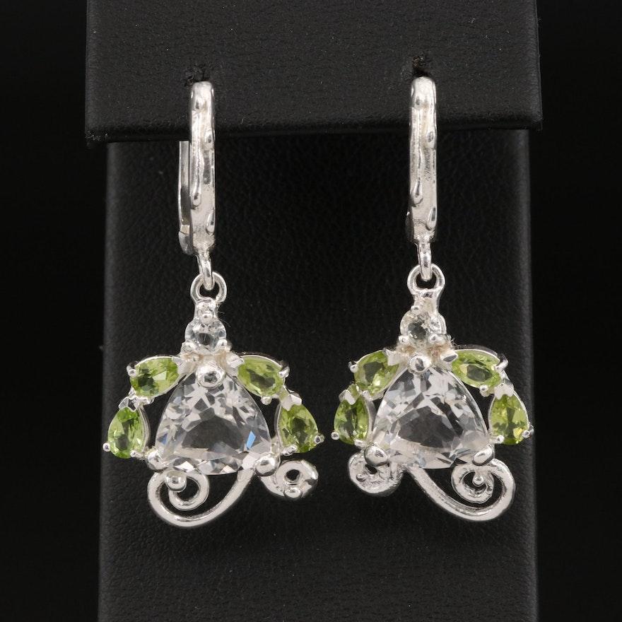 Sterling Silver Topaz and Peridot Drop Earrings
