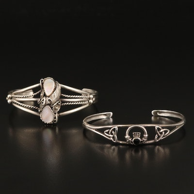 Sterling Mother of Pearl Appliqué and Black Onyx Claddagh Cuffs