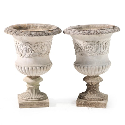 Neoclassical Style Cast Concrete Outdoor Planters