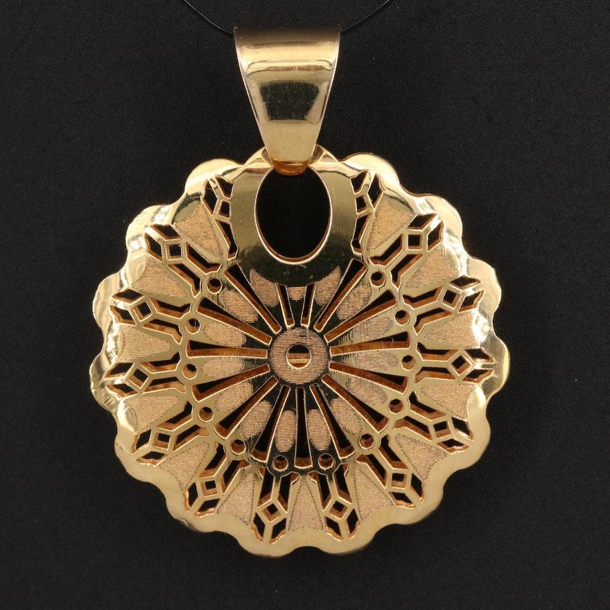 Italian 14K Medallion Pendant with Openwork Pattern
