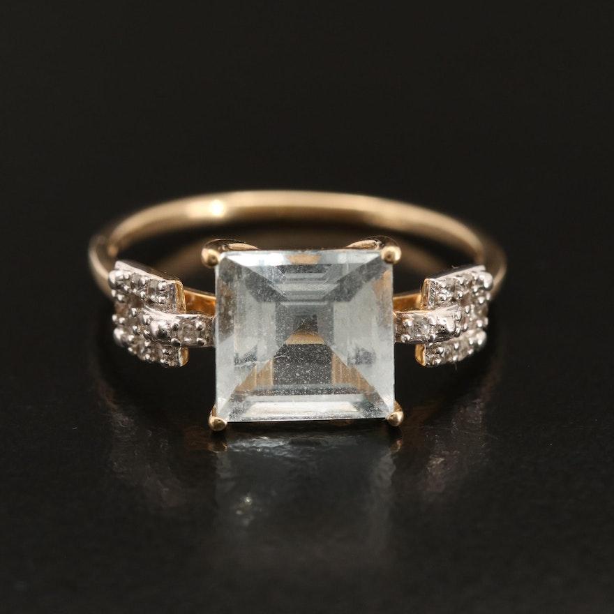 10K Aquamarine and White Zircon Ring