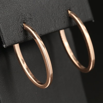 14K Rose Gold Oval Hoop Earrings