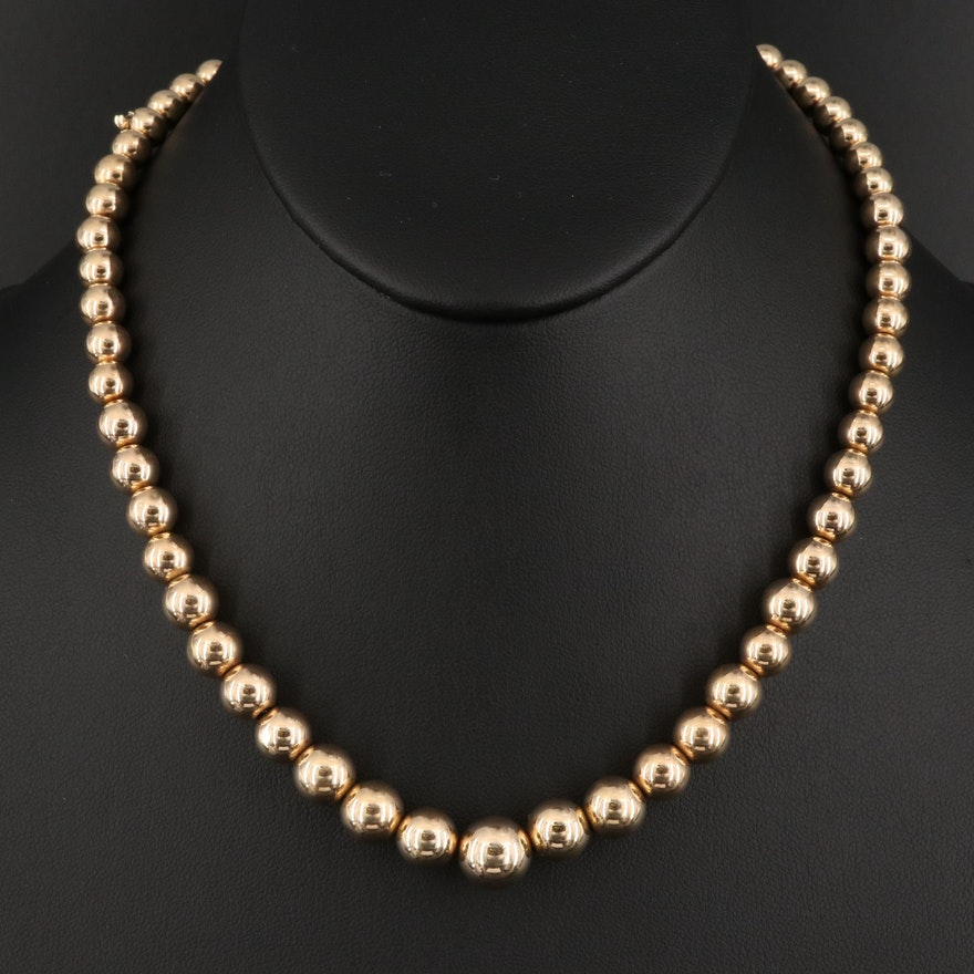14K Graduated High Polished Bead Necklace