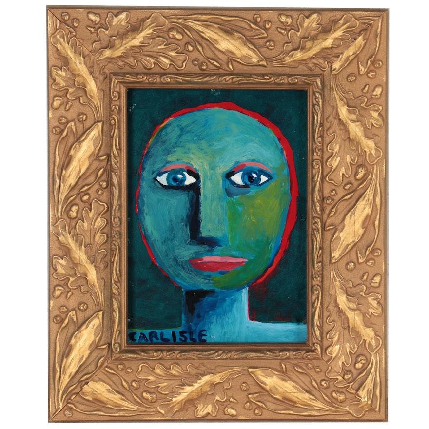 Stylized Oil Portrait on Metal Sheet, 21st Century
