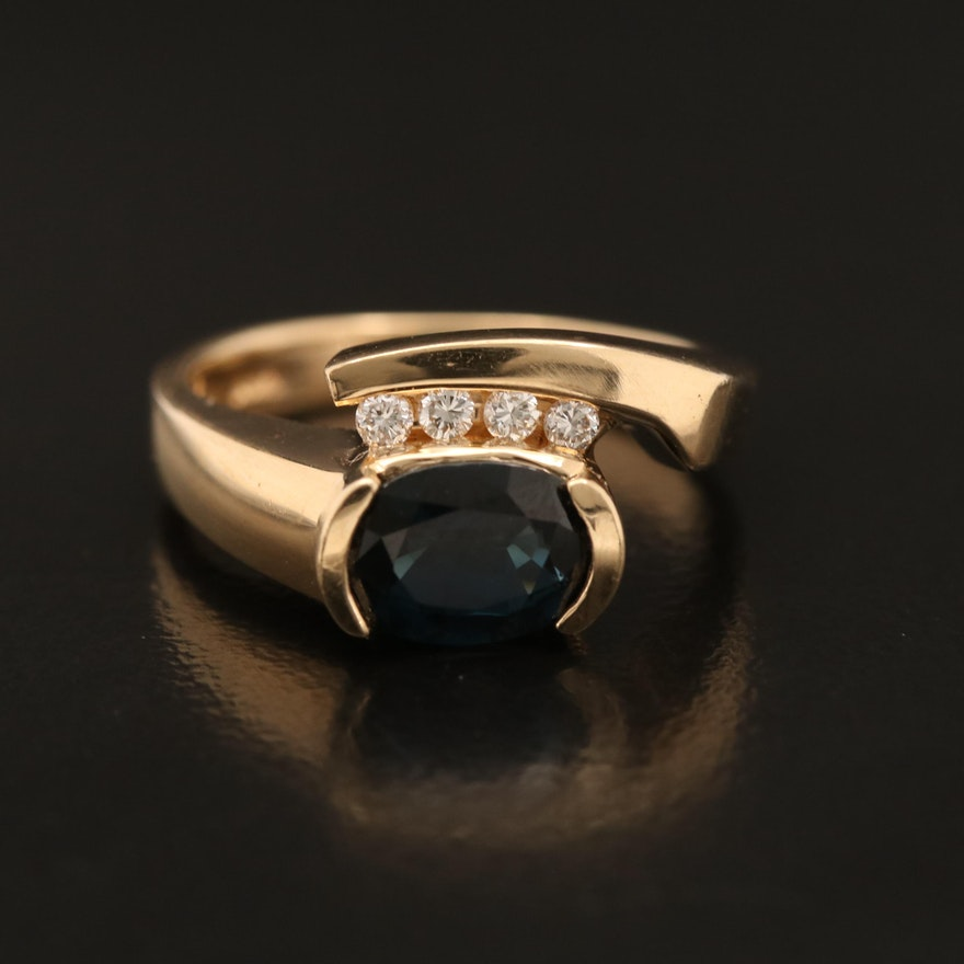 14K 1.55 CT Sapphire and Diamond Ring