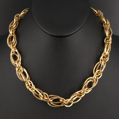 14K Triple Oval Link Necklace