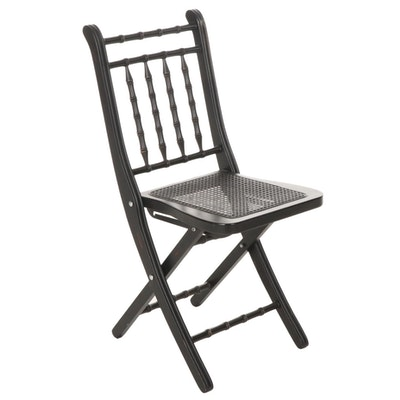 Black Wooden Folding Chair with Cane Seat