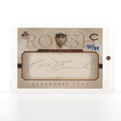 Edd Roush UD Legendary Cuts 40/99 Certified Autograph Baseball Card, 1919 Reds