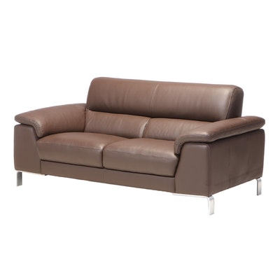 Modernist Style Brown Leather Two-Seat Sofa