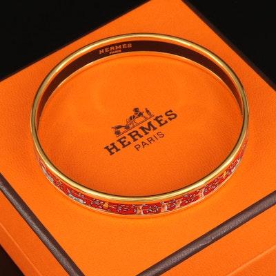 Hermès Enamel Bangle with Flora and Fauna Pattern