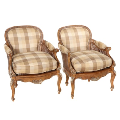 Pair of Louis XV Style Upholstered Bergères with Woven Cane Sides