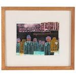 William McQuail Mixed Media Painting of Figures in Uniform, Circa 2000