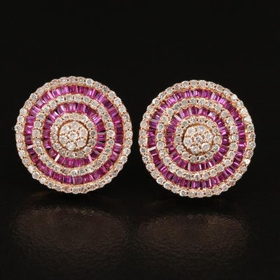 14K Diamond and Ruby Concentric Earrings