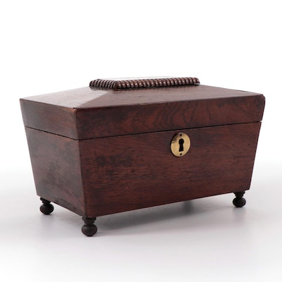 English Sarcophagus Form Footed Rosewood Tea Caddy, Mid-19th Century