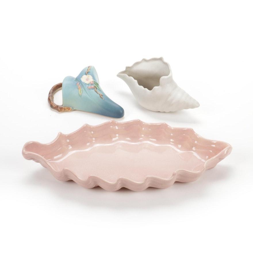 """Roseville """"Apple Blossom"""" Pocket Vase, Haeger Leaf Dish, Van Briggle Shell"""