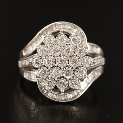 Sterling Silver 1.00 CTW Diamond Cluster Ring