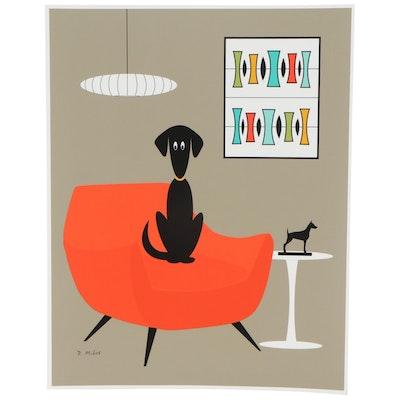 "Donna Mibus Giclée ""Mid Century Modern Black Dogs"""