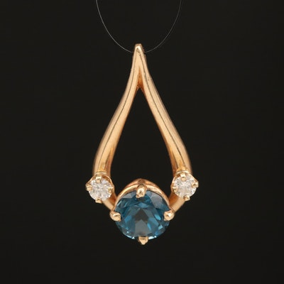 14K London Blue Topaz and Diamond Pendant