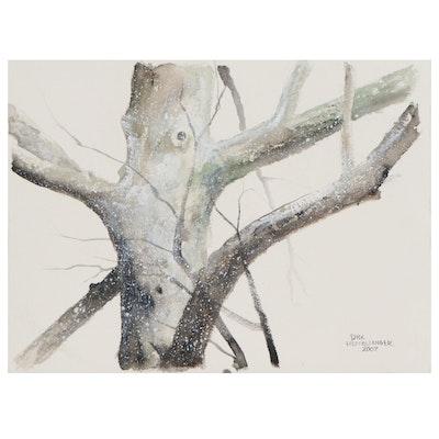 Dick Heffelfinger Watercolor Painting of Tree Detail, 2007