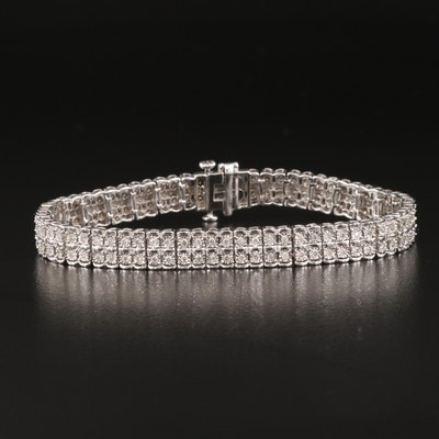 Sterling Silver 1.02 CTW Diamond Double Row Bracelet