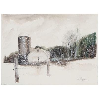 Dick Heffelfinger Watercolor Painting of Winter Farm, 2010