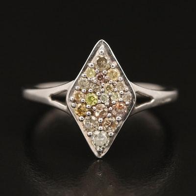 Sterling Silver Diamond Navette Ring