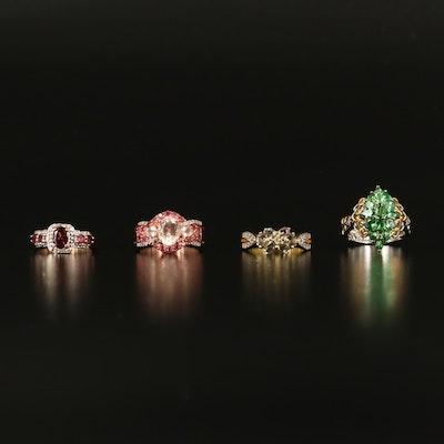 Sterling Rings Featuring Tsavorite, Sapphire and Morganite