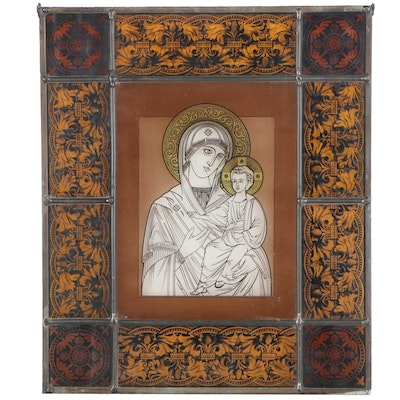 Our Lady of Kazan Stained Glass Window Panel, Late 20th Century