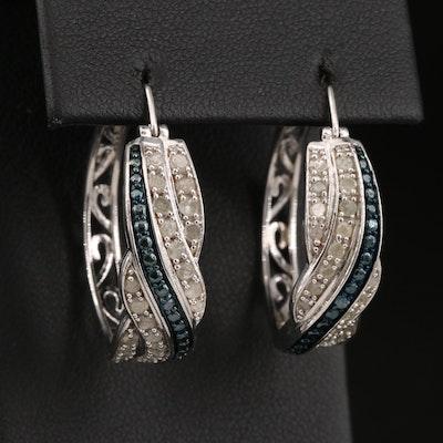 Openwork 1.02 CTW Diamond Hoop Earrings