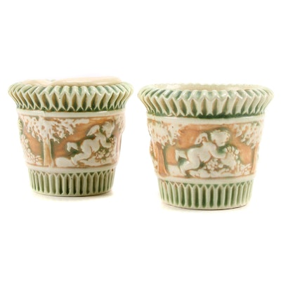 """Roseville """"Donatello"""" Small Earthenware Planters and Floral Frog"""