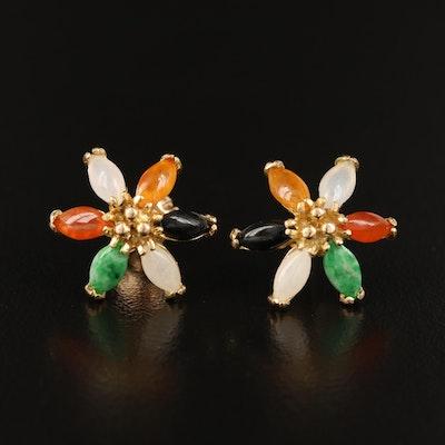 14K Jadeite and Black Onyx Flower Earrings
