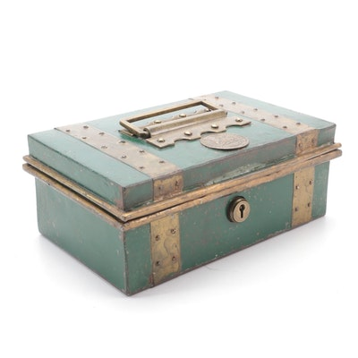 """Nettlefold's """"Banker's Safety"""" Metal Lockbox, Late 19th to Early 20th Century"""