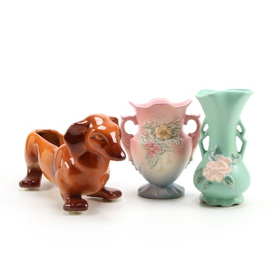 Hull Art Pottery Dachshund Planter with Floral Hull and Weller Pottery Vases