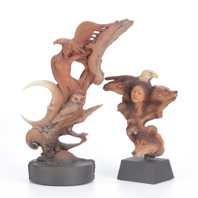 """Rick Cain """"Life Flow"""" and """"Cycle"""" Limited Edition Cast Resin Figures, 1990s"""