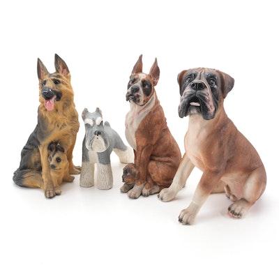 Boxer, German Shepherd, and Schnauzer Painted Resin Figurines