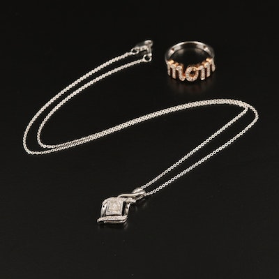 """Sterling Diamond Pendant Necklace and """"Mom"""" Ring"""