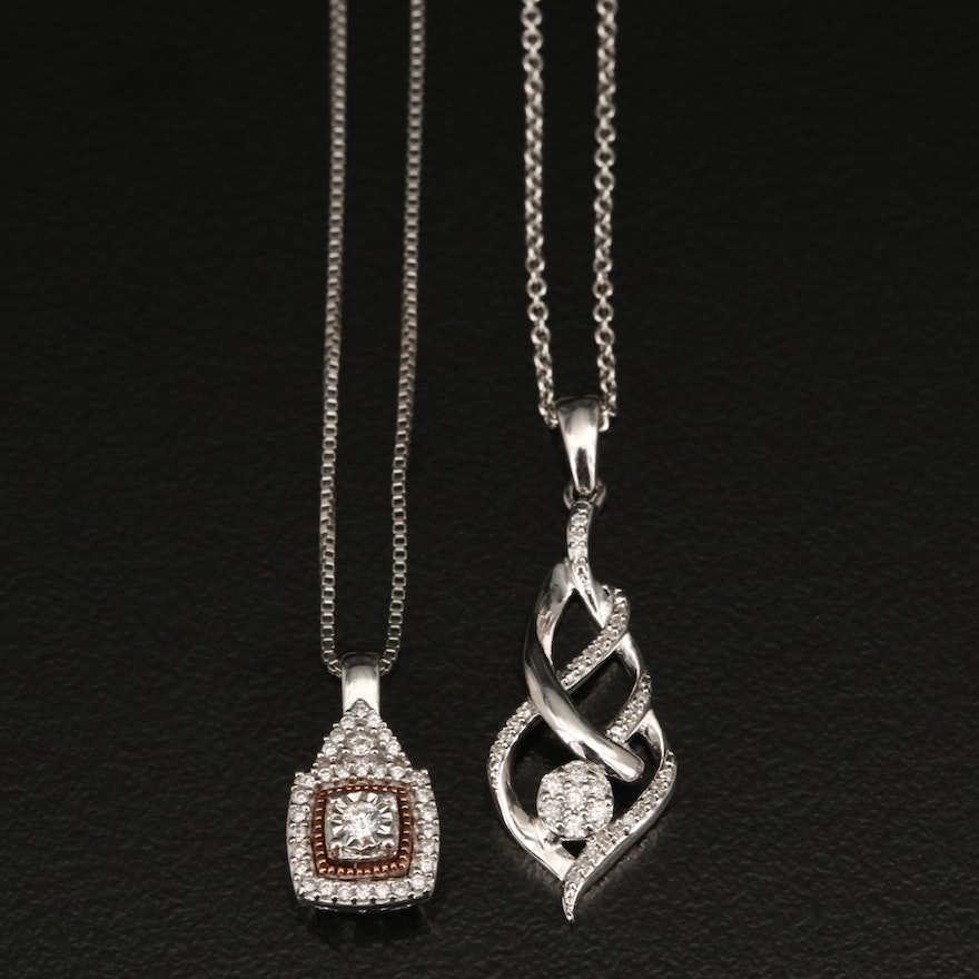 Sterling Diamond and Cubic Zirconia Pendant Necklaces with 10K Accent