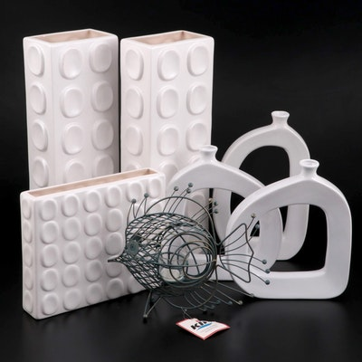 Urban Trends and Other White Ceramic Vases with Metal Fish Votive Holder