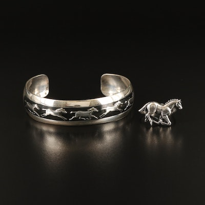 Signed Southwestern Sterling Enamel Horse Cuff and Ring