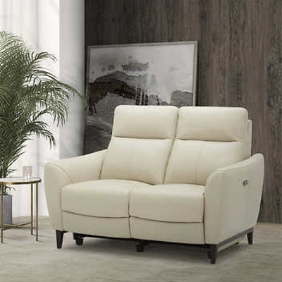 Crosslin Leather Power Reclining Loveseat with Power Headrests