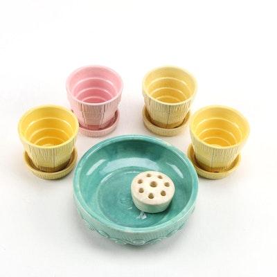 McCoy Ceramic Basket Weave Planters, Low Bowl and Other Floral Frog