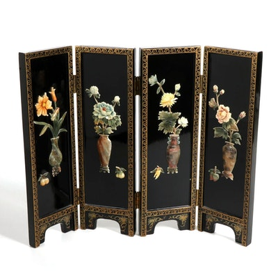 Miniature Chinese Stone Inlaid Paint-Decorated Screen