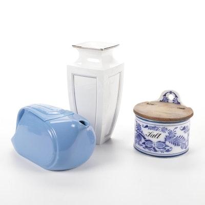 GMT & Bro. Germany Salt Box, Lenox Vase and Hall Refrigerator Pitcher