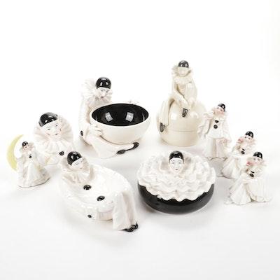 "Schmid ""Pierrot Love"" Ceramic Figurines and Taste Seller Sigma Vanity Dishes"